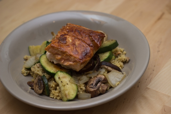 Citrus-Soy Glazed Salmon with Zucchini & Mushroom Couscous